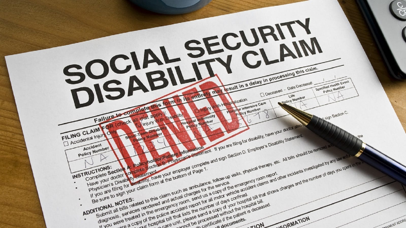 SSDI Claim Denied Stock Photo