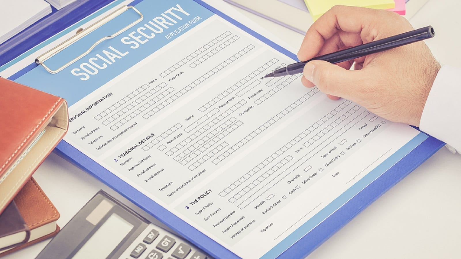 Social Security Application Form Stock Photo