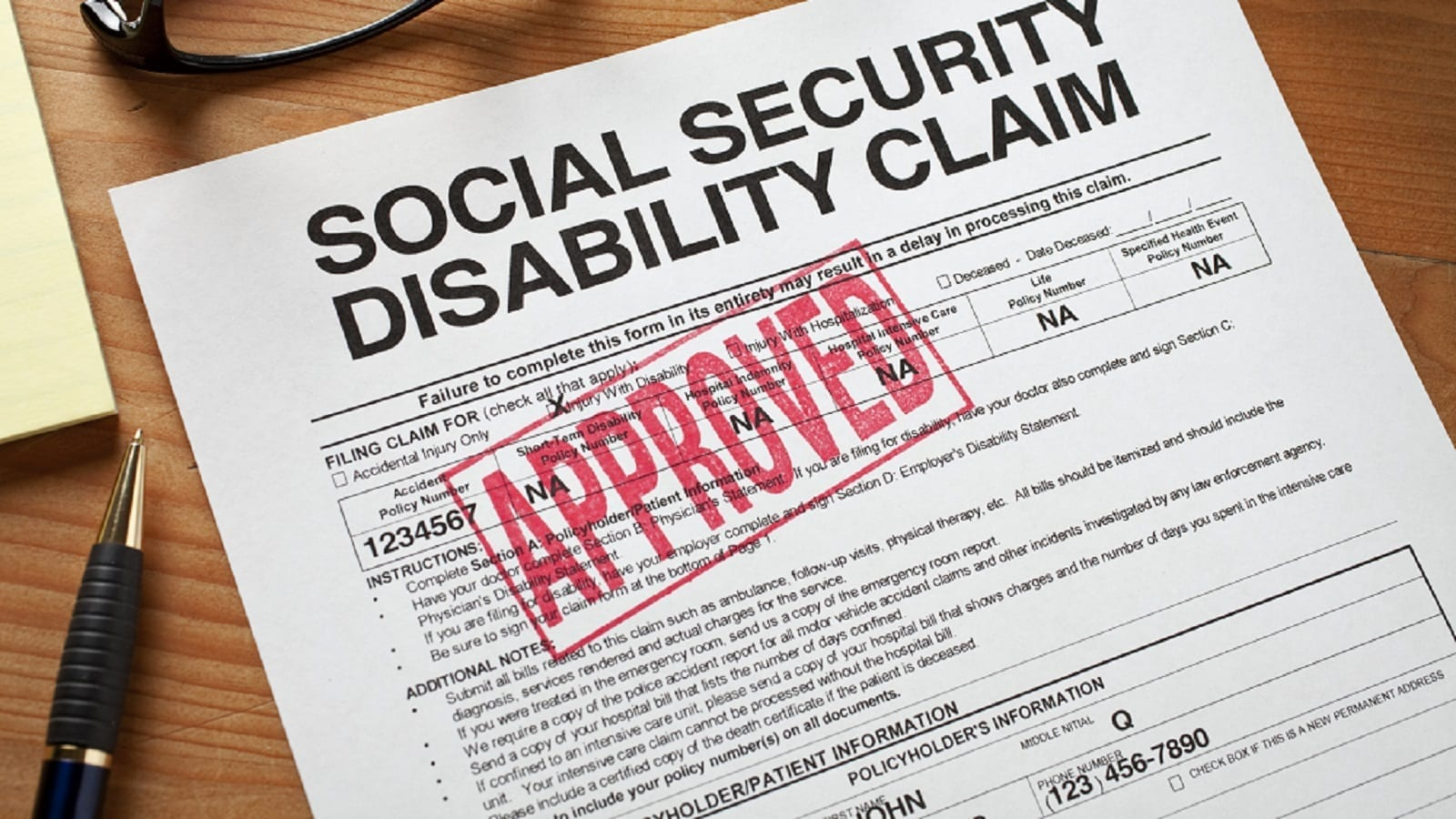 Approved Social Security Disability Claim Stock Photo