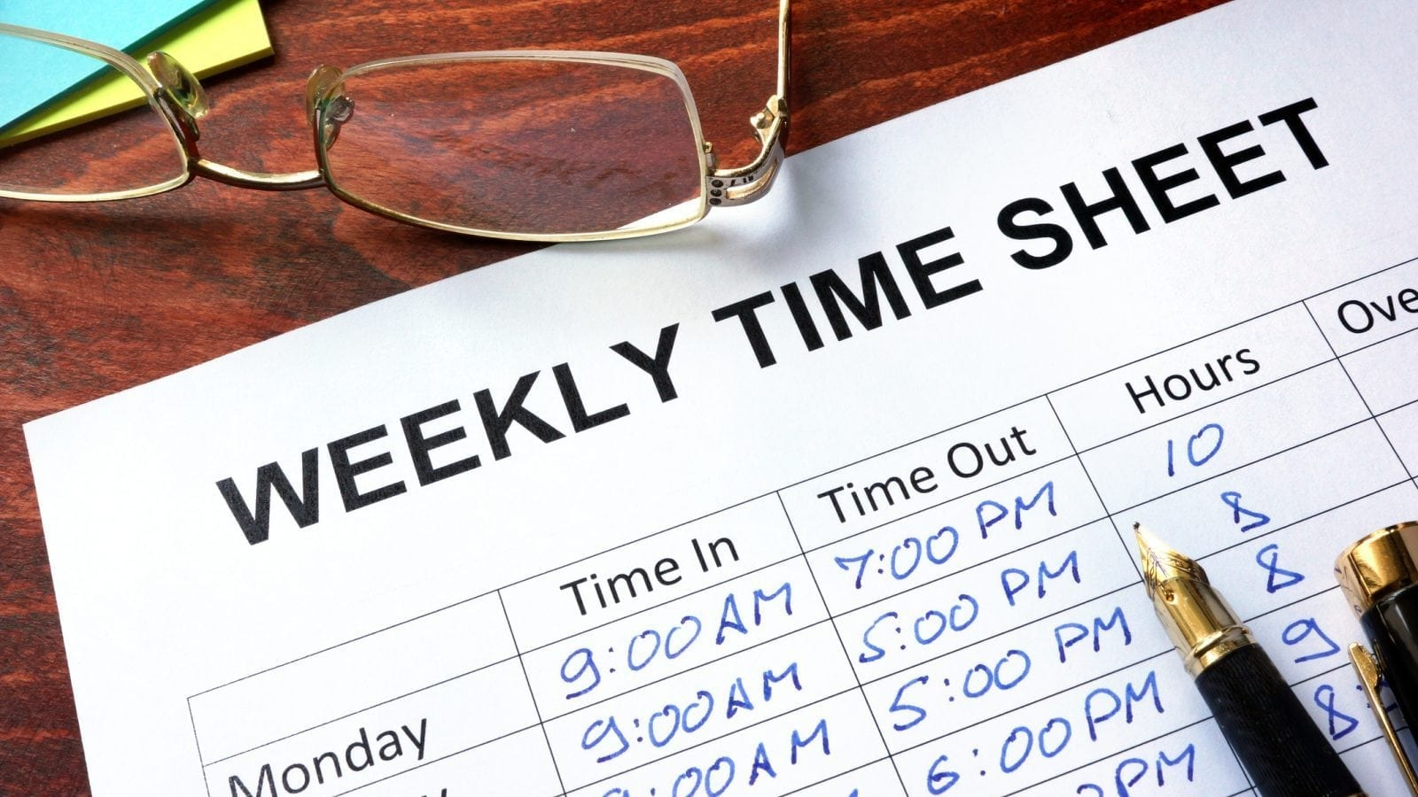Weekly Time Sheet Stock Photo