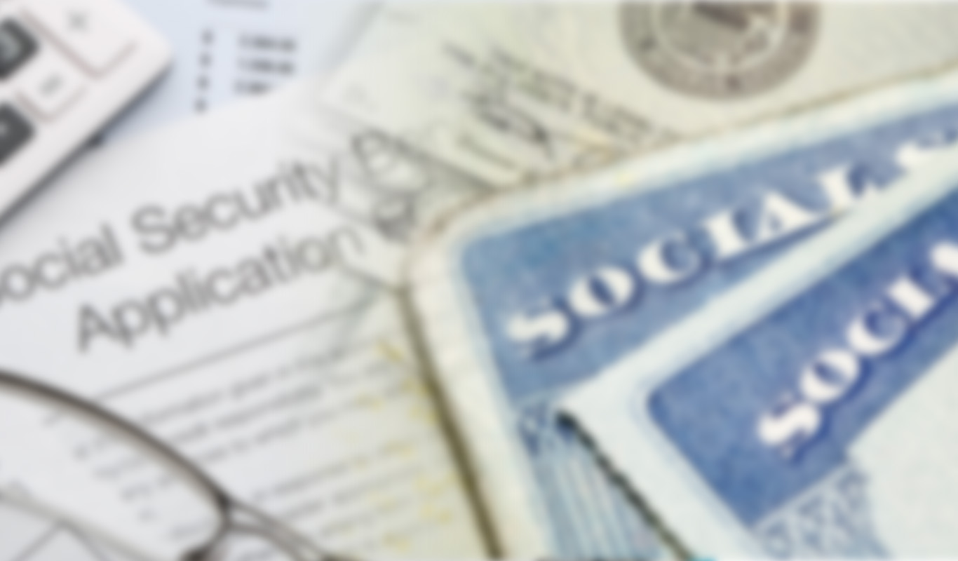 Social security cards in front of social security application
