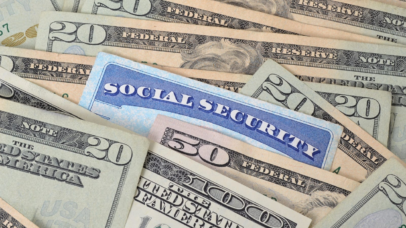 Social Security Card With Money Stock Photo