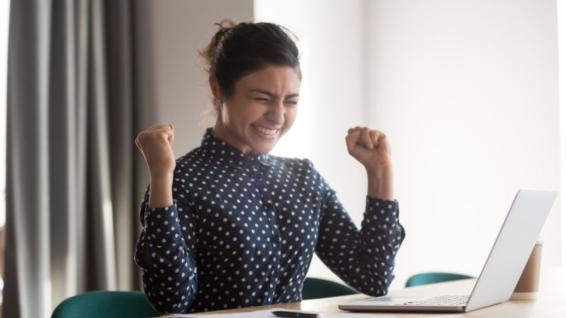 woman celebrating her disability claim approval