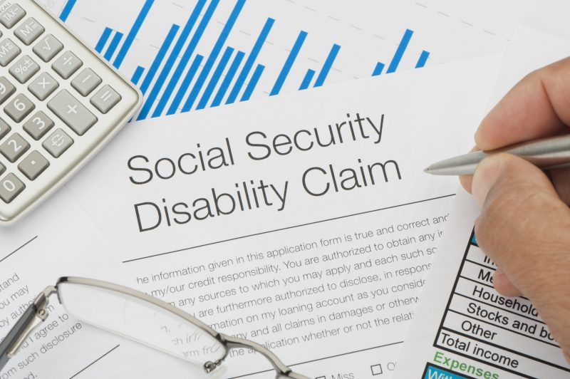 A person in Los Angeles filling out a social security disability claim